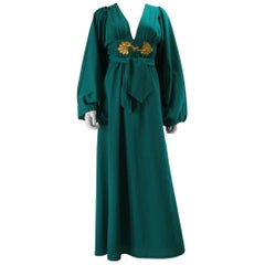 Rare Vintage Deep Green Ossie Clark for Radley early 1970's Maxi Dress US 4 Size