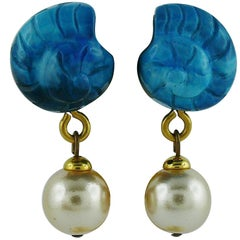 Yves Saint Laurent YSL Vintage Seashell Pearl Clip-On Earrings