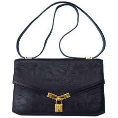 Hermès Vintage Padlock Purse Bag In Black Lizard Gold Hdw RARE