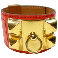 Hermès Bracelet Collier de Chien Alligator Mat Orange Poppy and Gold Plated HDW
