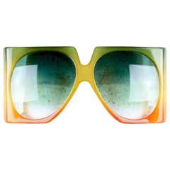Christian Dior D03 Gradient Green Yellow Orange Oversized Sunglasses, 1970s