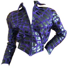 "Thierry Mugler ""Insect"" Collection Suede and Patent Leather Jacket"