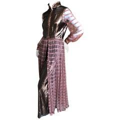 Oscar de la Renta Vintage 1970 Metallic Copper Sequin Evening Dress with Pants