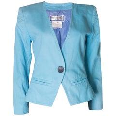 A Vintage 1980s pale blue cotton jacket by Yves Saint Laurent