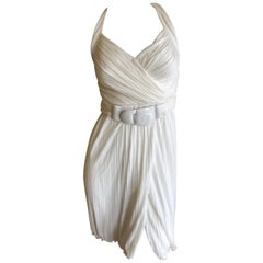 Versace Vintage Draped White Goddess Dress with Belt
