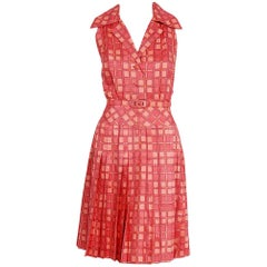 1973 Christian Dior Demi-Couture Pink Deco Print Cotton Pleated Sun Dress