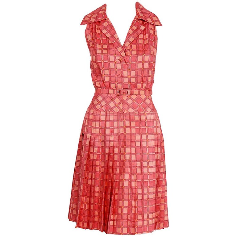 1973 Christian Dior Demi-Couture Pink Deco Print Cotton Pleated Sun Dress