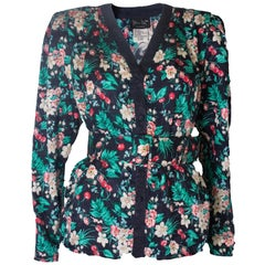 A Vintage 1980s silk floral printed jacket with matching belt by Diane Fres