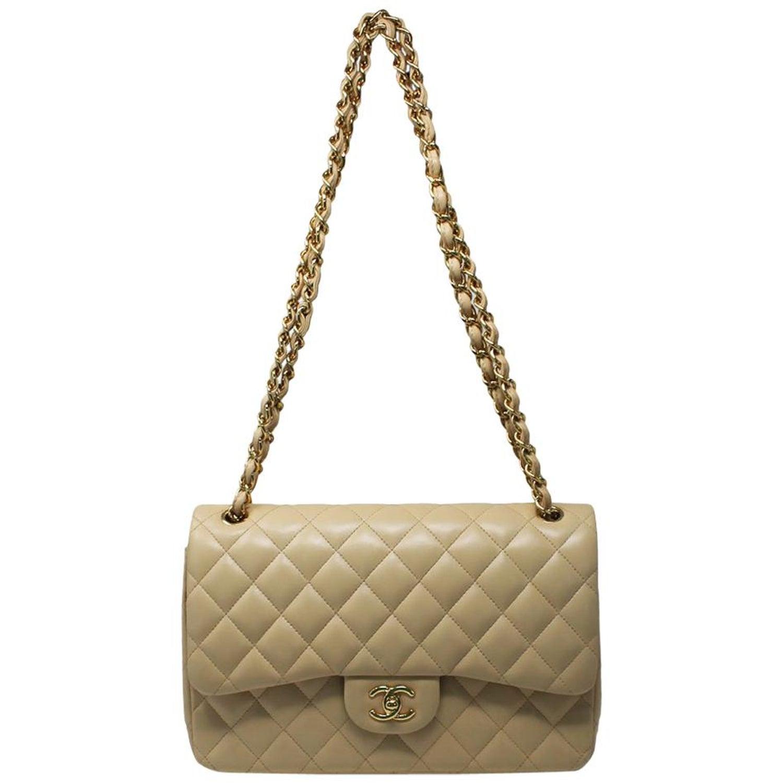 8743532423dc32 Chanel Jumbo Beige Lambskin Double Flap Bag GHW in Box at 1stdibs