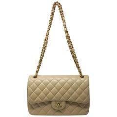 Chanel Jumbo Beige Lambskin Double Flap Bag GHW in Box