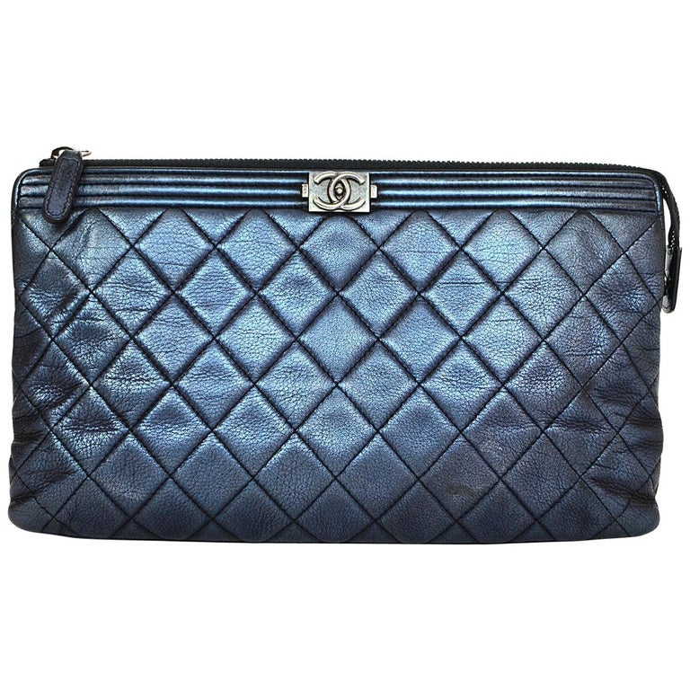 Chanel Metallic Blue Quilted Boy Clutch Bag with Box, Dust Bag & Auth Card