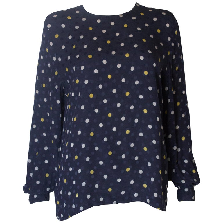 A Vintage 1990s navy polka dot silk blouse by Valentino  For Sale