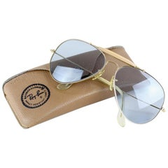Ray-Ban by B&L Large Gold Outdoorsman Aviator 62–14 Blue Lenses & Case, 1980s