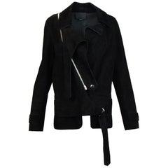 Alexander Wang Black Suede Biker Jacket Sz 4