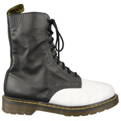 Yohji Yamamoto For Dr. Martens Black and White Two Toned Leather Boots