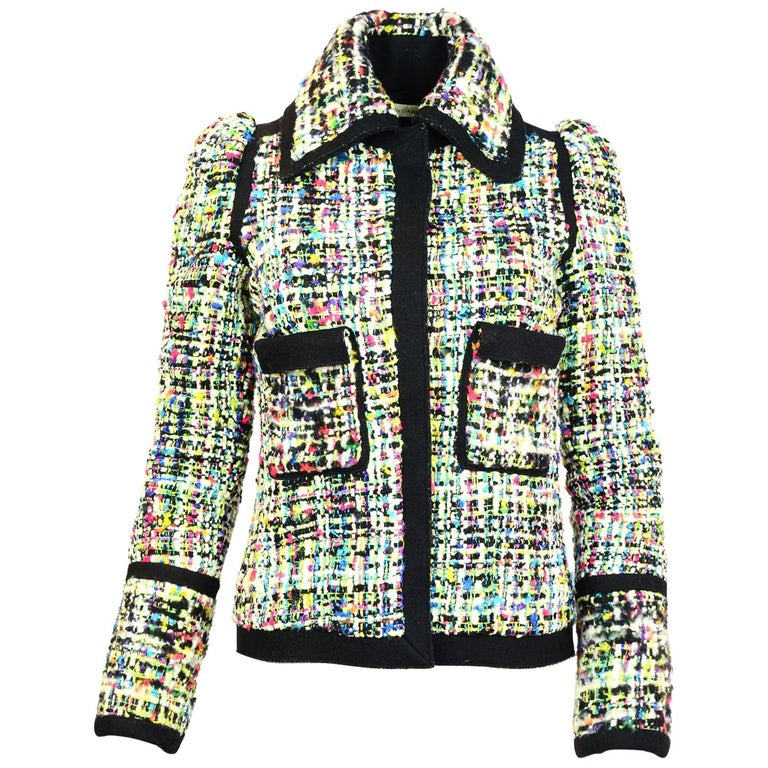 33ba6471fd1f Balenciaga Black and Multi-Colored Tweed Jacket Sz FR40 For Sale at 1stdibs