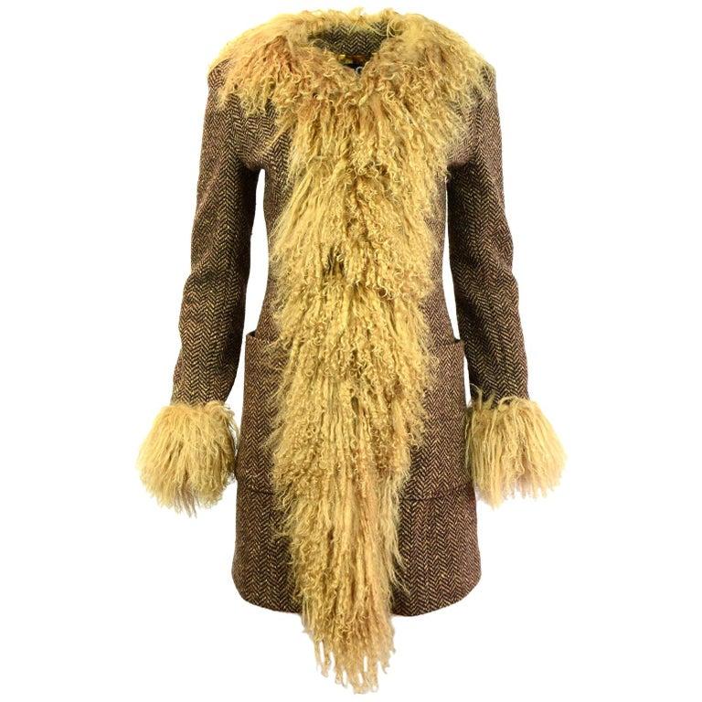 D&G Brown Wool Herringbone & Mongolian Fur Coat Sz IT40