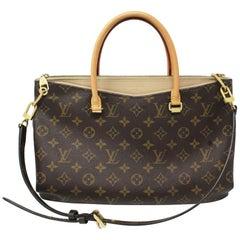 Authentic Louis Vuitton Pallas Monogram Beige Handbag Purse