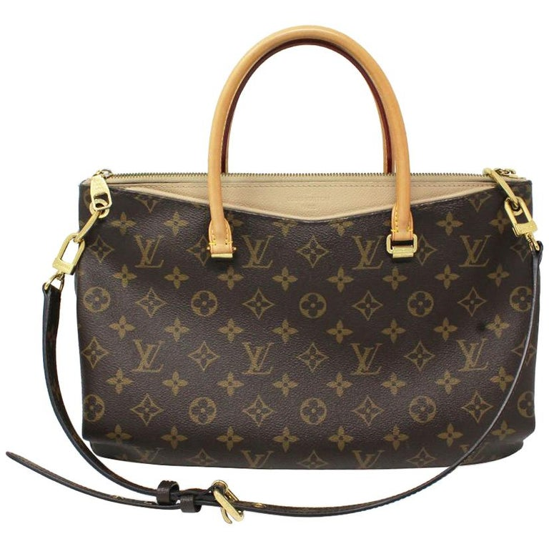 Authentic Louis Vuitton Pallas Monogram Beige Handbag Purse