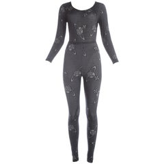 Vivienne Westwood Bodysuit and leggings ensemble with Orb print, ca. 1990-92