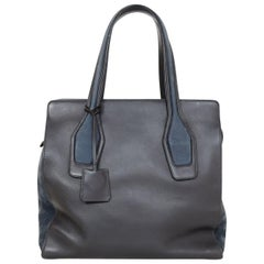 Tod's Black Leather & Navy Suede Tote Bag with Dust Bag