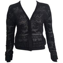 Lanvin Black Lace Snap Button Cardigan Size 4.