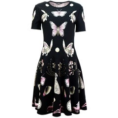 Alexander McQueen Black Butterfly Print Obsession Volume Skater Dress Sz L NWT