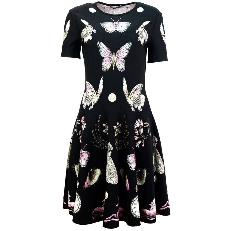 Alexander McQueen Black Butterfly Print Obsession Volume Skater Dress Sz L NWT