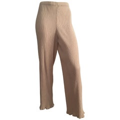 Issey Miyake 1990s Tan Pleated Pants with Elastic Waist Band Size 6.