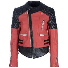 Balenciaga Black & Rust Leather Biker Jacket sz S