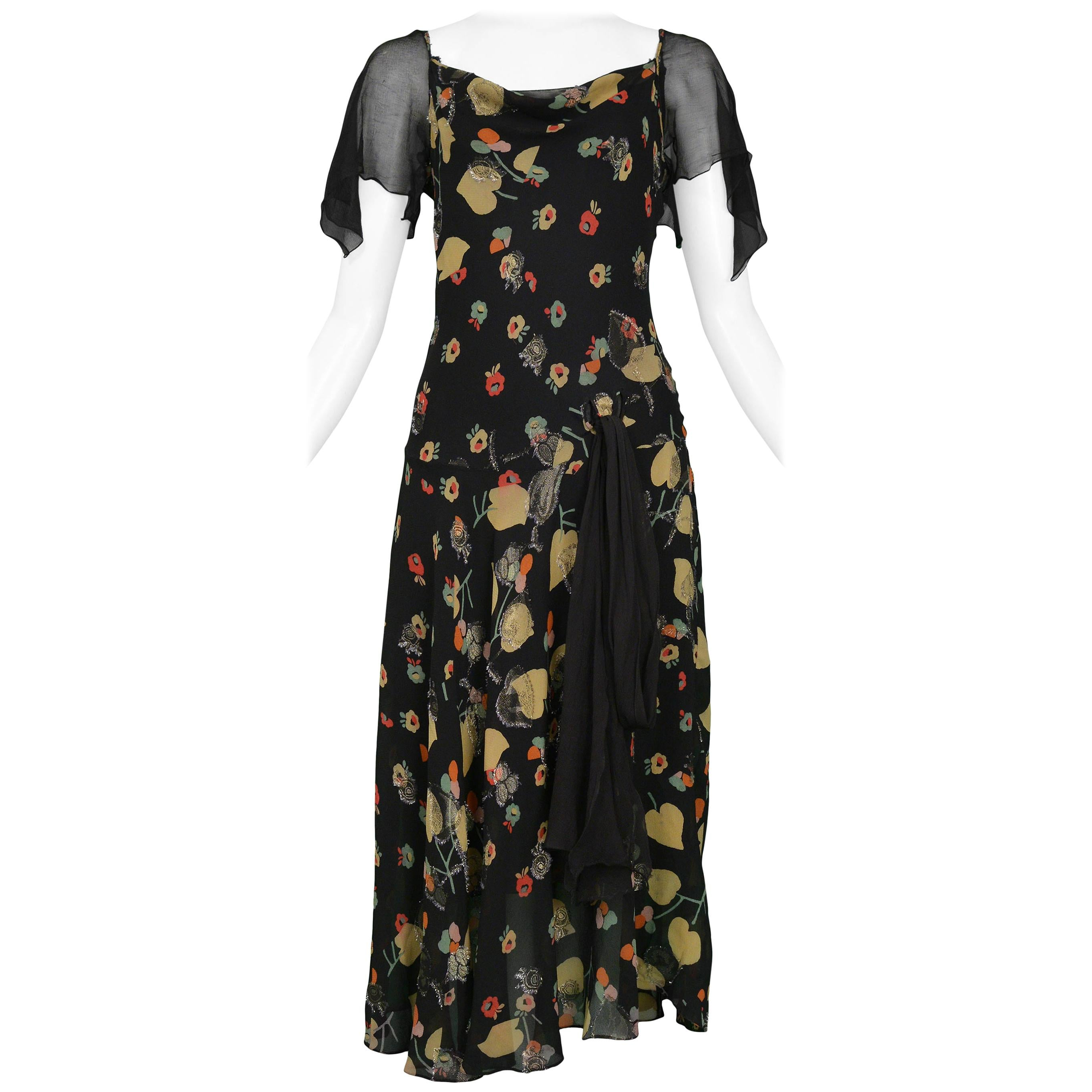 3cef456a6a598 Vintage Chanel Floral and Black Chiffon Dress at 1stdibs