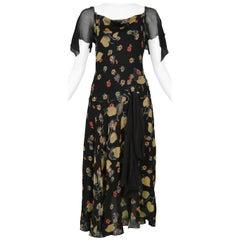 Vintage Chanel Floral & Black Chiffon Dress