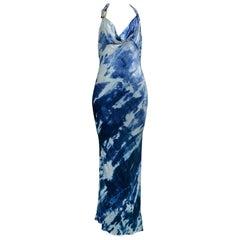 Vintage John Galliano for Christian Dior Velvet Tie-Dye Gown 2001