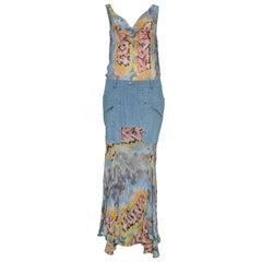 Vintage John Galliano for Christian Dior Chiffon & Denim Graffiti Gown