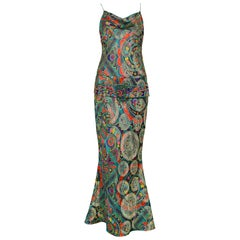 Vintage John Galliano Paisley Silk Belted Gown