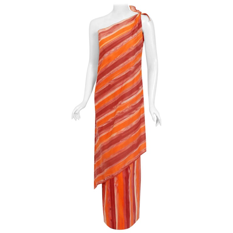1970's Paco Rabanne Orange Striped Cotton One-Shoulder Asymmetric Dress & Skirt