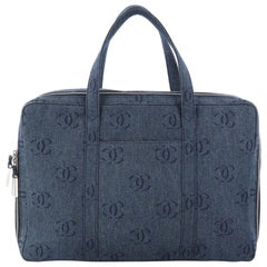 Chanel Vintage CC Weekender Bag Printed Denim Large