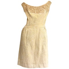Pretty 1950s Size 12 / 14 Gold Silk Brocade Sequined Vintage 50s Cocktail Dress