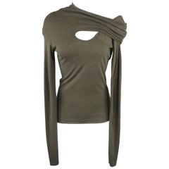 RICK OWENS Size 6 Olive Green Jersey Cutout Wrap Shoulder Pullover