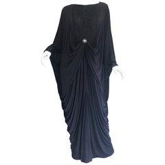 Amazing 1970s Black Jersey Metallic Grecian Vintage 70s Caftan Maxi Dress