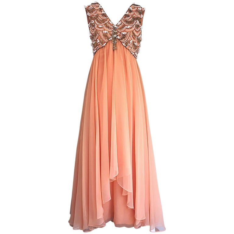 1960s Isabell Gerhart Sherbet Coral Demi Couture Beaded Chiffon 60s Gown Dress For Sale