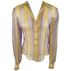CHLOE Size L Purple & Yellow Iridescent Striped Silk Chiffon Blouse
