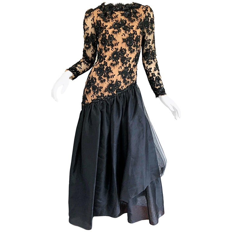 Vintage Bill Blass Black + Nude Size 6 / 8 Sequined Chiffon Evening ...