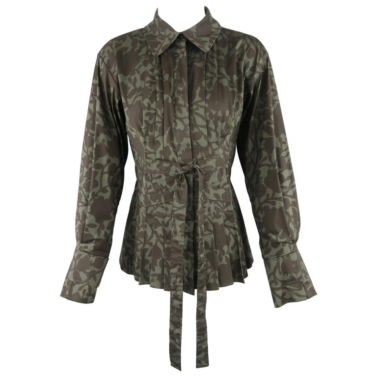 YVES SAINT LAURENT Size 6 Olive Green Floral Print Tied Blouse