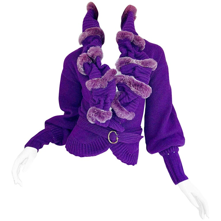 Roberto Cavalli Purple 2000s Luxurious Fur Wool Belted Cardigan Sweater Jacket For Sale
