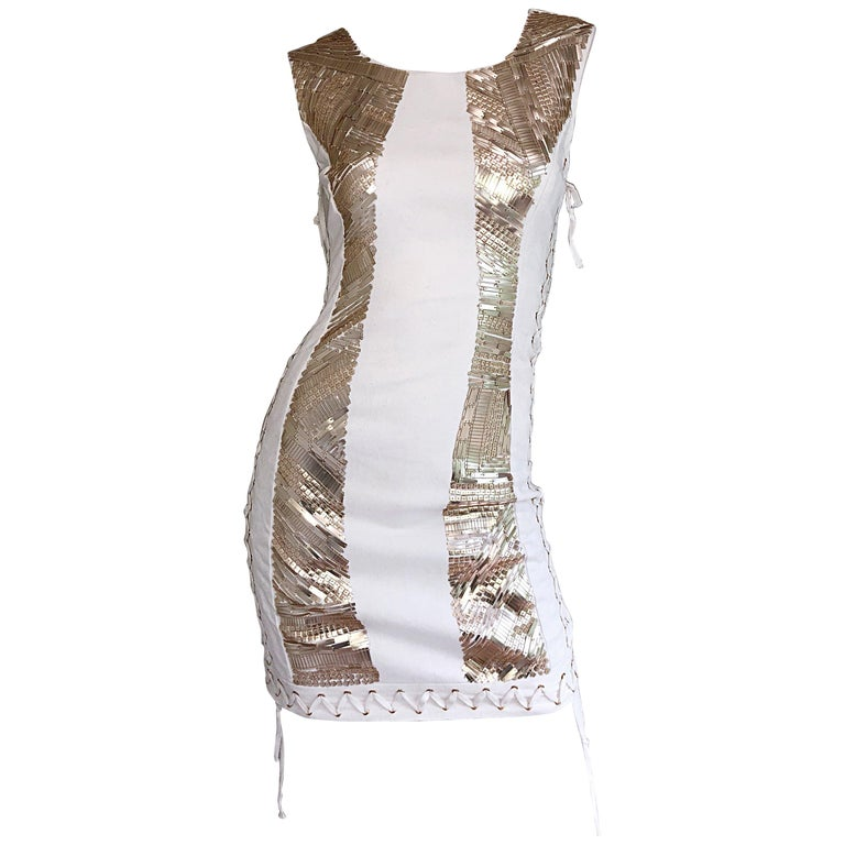 Pierre Balmain New w/ Tags White + Gold Sequined Lace Up Sleeveless Mini Dress For Sale