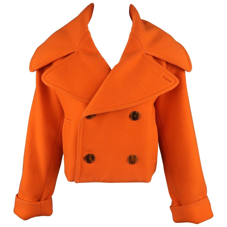 RALPH LAUREN Size 10 Orange Oversized Collar Cropped Peacoat Jacket