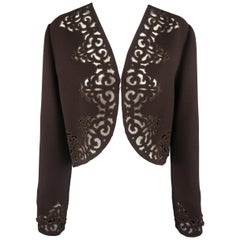 BILL BLASS Size 12 Brown Wool Blend Crepe Cutout Trim Bolero Jacket