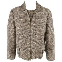 CHLOE Size 10 Beige Tweed Collared Hidden Snap Closure Jacket