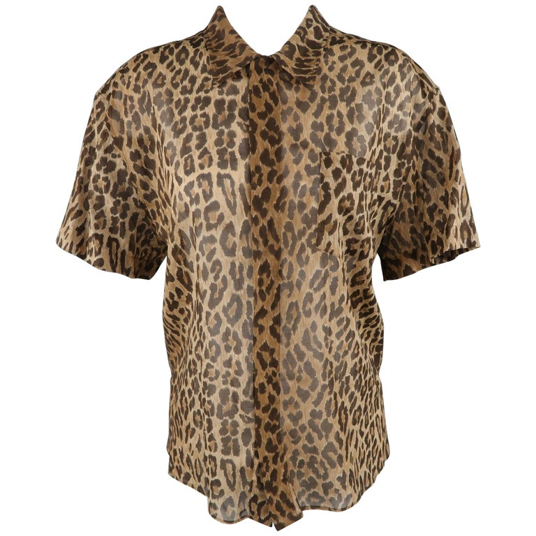DOLCE & GABBANA Size 10 Brown Leopard Print Sheer Cotton Short Sleeve Blouse